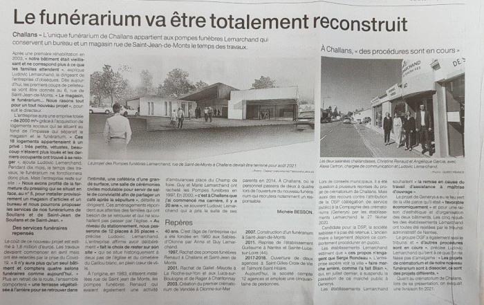 Article Ouest France travaux funérarium Challans
